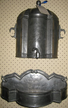 C1704 Exceptionally Scarce 3 Piece Pewter Wall Fountain for the Boudoir