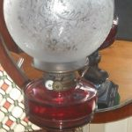 C1890's Ruby Glass Double Burner Banquet Lamp