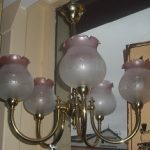 Vintage Etched French Cranberry Light Shades