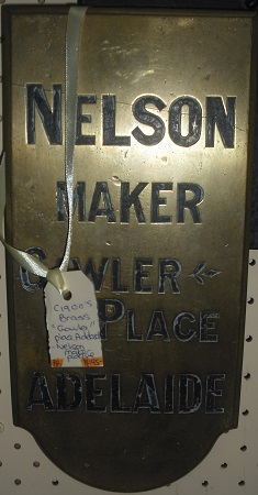 """C1900's """"Nelson Maker, Gawler Place, Adelaide"""" Plaque"""