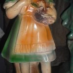 C1900's French Plaster Girl with Birds Figurine