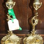 C1860's Clam Shell Candlesticks
