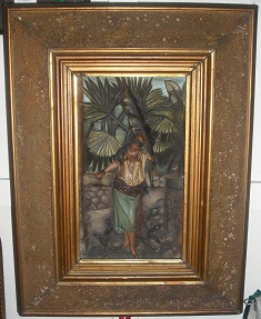 C1900's Terracotta Over Painted Egyptian Scene Panel