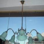 French Milk Glass & Brass Light Fitting