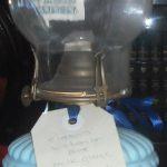 C1880's Blue Milk Glass Oil Lamp