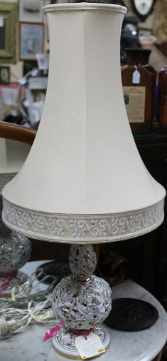 C1950's Capodimonte Cherub & Bird Gilt Lamp