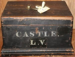 C1900 Blackened Wooden Deed Box
