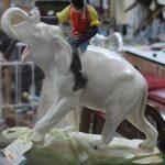C1920's Boy on Elephant Plaster Figurine